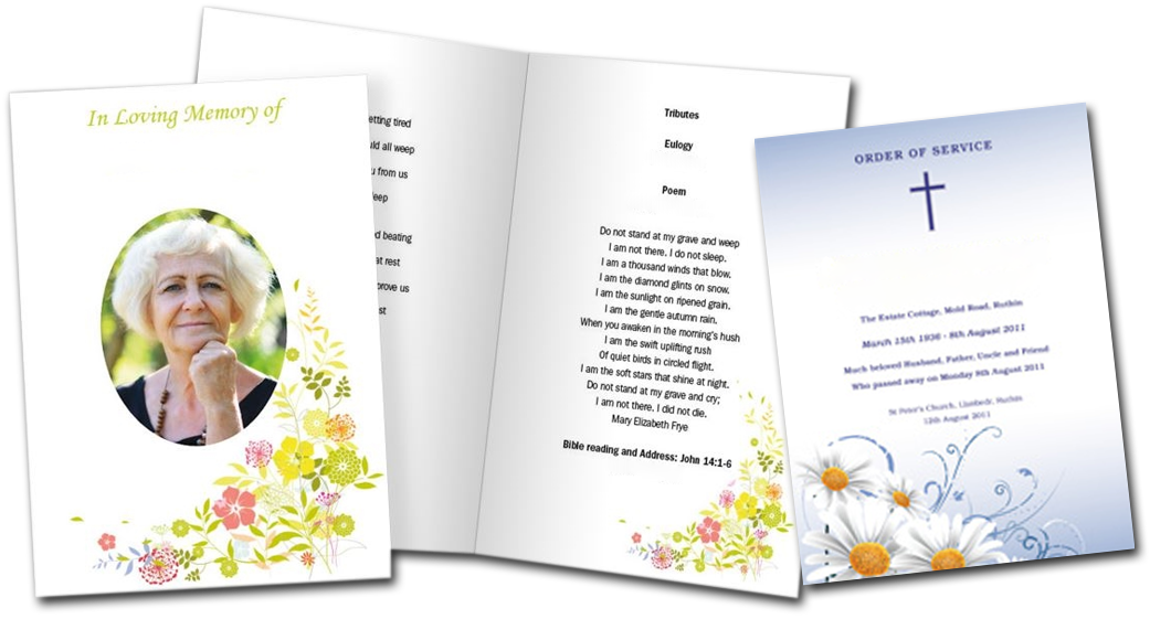 Lanarkshire Print and Media Colour Printing of Funeral Order of Digital Service Booklets